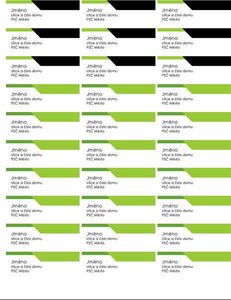 Adresní štítky s výrazným logem (30 na každé stránce)