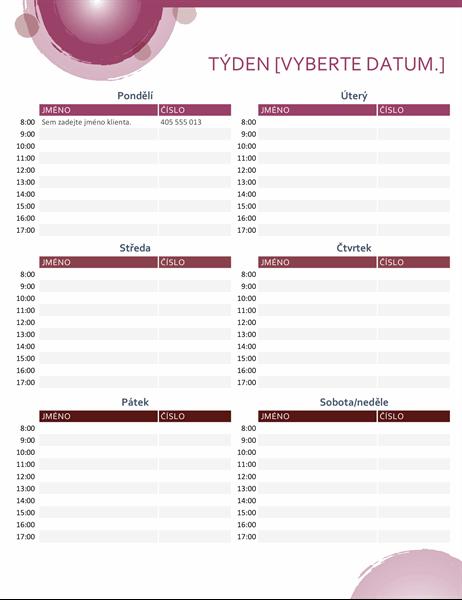 Kalendář schůzek (růžová sada)