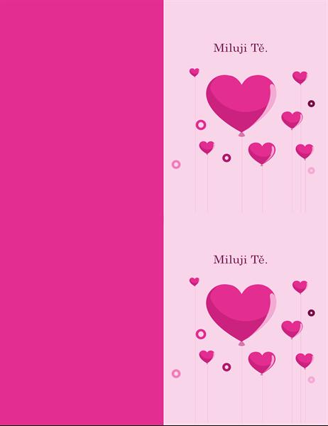 Valentýnské přání s balónky ve tvaru srdce