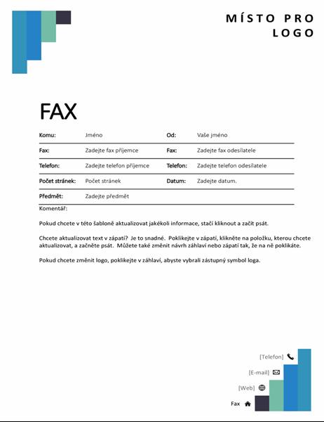 Titulní stránka faxu s modrými schody