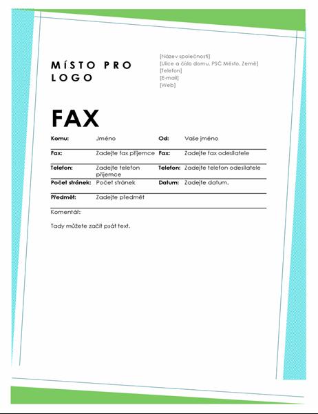 Titulní stránka faxu s geometrickými vzory