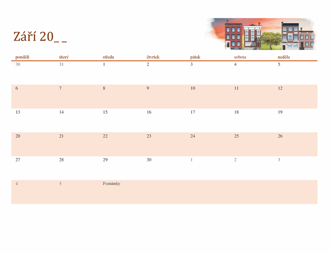 Ilustrovaný kalendář pro libovolný rok s motivy ročních období