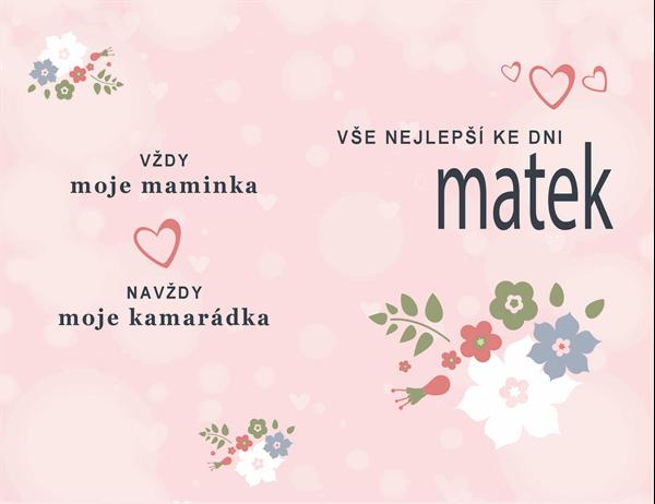 Pěkné růžové přání ke Dni matek