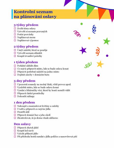 Kontrolní seznam na plánování oslavy