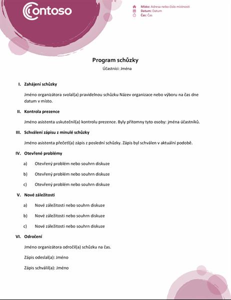 Program schůzky (růžová sada)