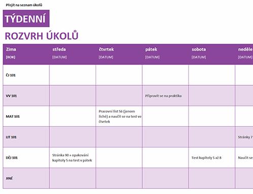 Týdenní rozvrh úkolů