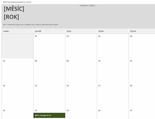 Kalendář domácích úkolů