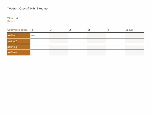 Týdenní časový plán skupiny