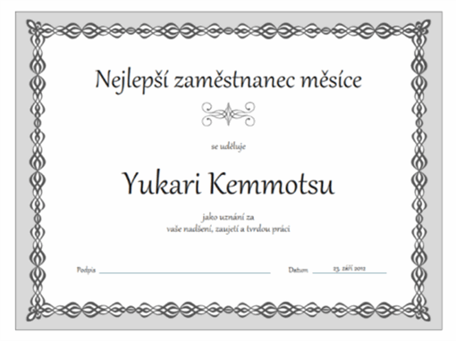 Diplom nejlepšího zaměstnance měsíce (šedý design s motivem řetězu)