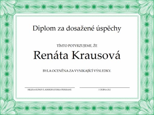 Diplom za dosažené úspěchy (zelený)
