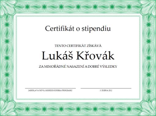 Certifikát o stipendiu (formální zelený okraj)