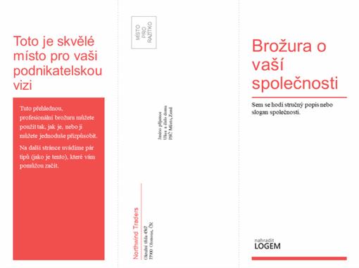 Třikrát přeložená obchodní nebo lékařská brožura (v červenobílém provedení)