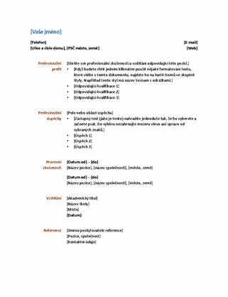 Profesionální životopis (funkční design)