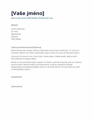 Jednoduchý průvodní dopis
