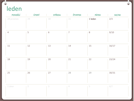Klasický nástěnný kalendář (pondělí–neděle, design s dvěma kroužky)
