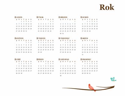 Roční kalendář s ptačím motivem (pondělí–neděle)