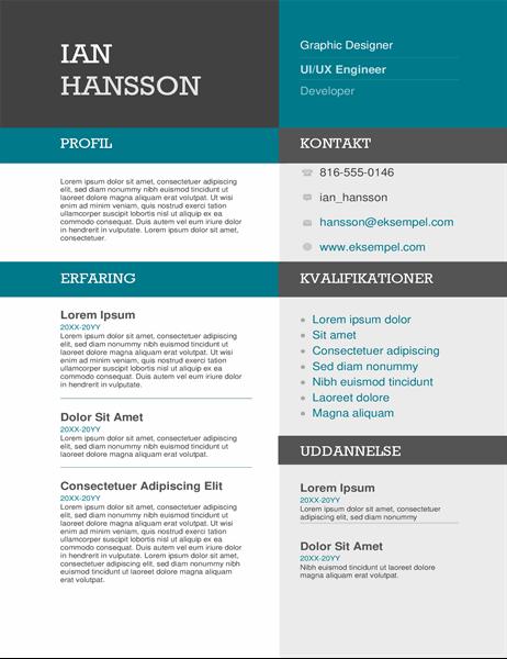 Farvet CV med blokke
