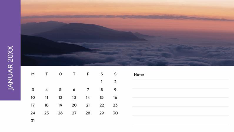 Kalender med landskabsbillede