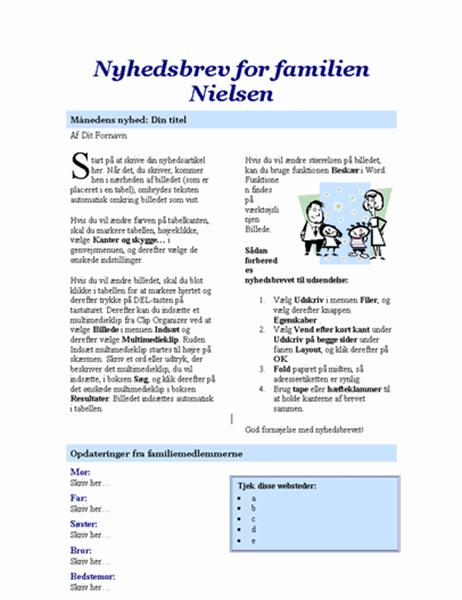 Familienyhedsbrev (2 sider)