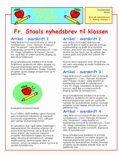 Nyhedsbrev til klasselokale (2 spalter, 2 sider)