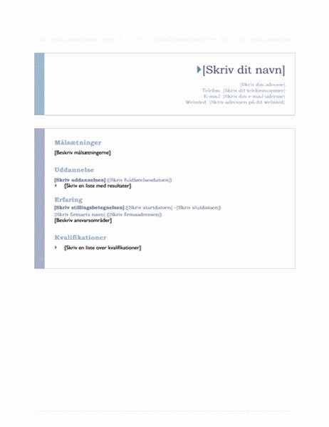 CV (temaet Oprindelse)