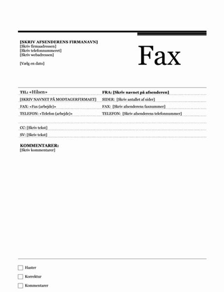 Flettebrev til fax (temaet Urban)