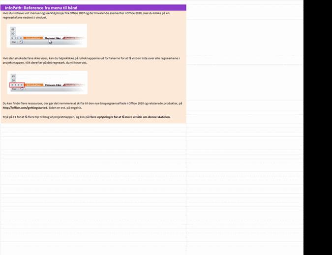 InfoPath 2010: projektmappe med referencer fra menuerne til båndet