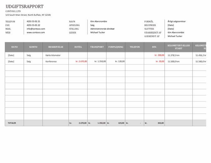 Udgiftsrapport for forretningsrejser