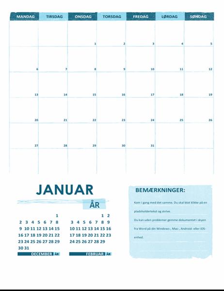 Studiekalender (en måned, et hvilket som helst år, mandag som start)