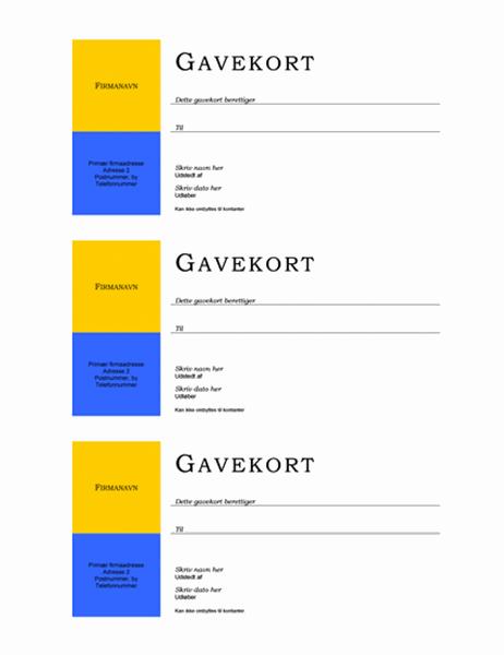 Gavekort (ingen kant, 3 eksempler)