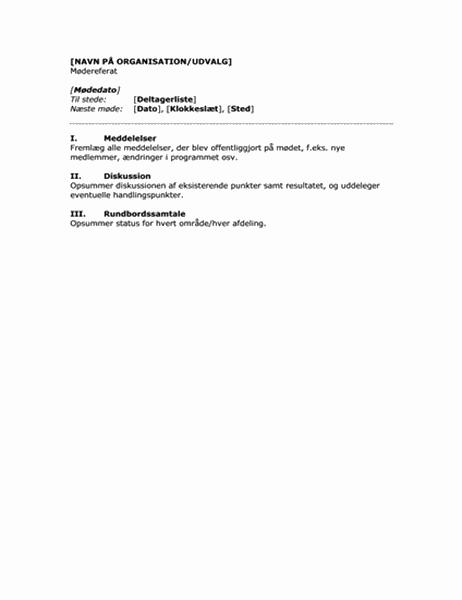 Mødedagsorden (kort version)