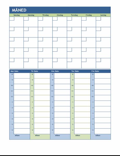 Månedlig og ugentlig planlægningskalender