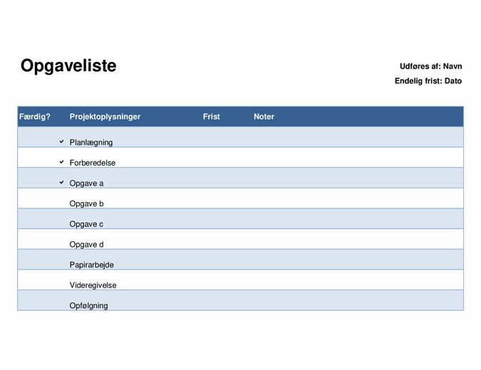 Opgaveliste for projekter