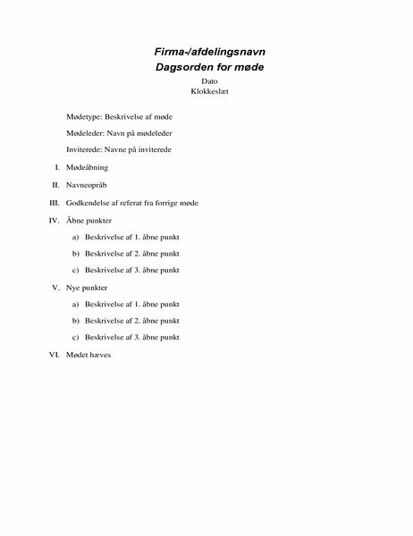 Formel mødedagsorden