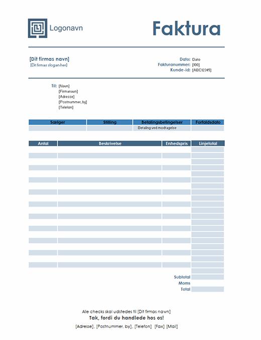 Tjenestefaktura (enkelt blåt design)