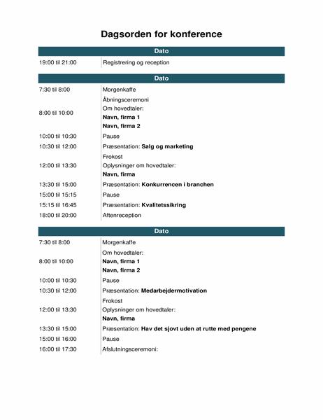 Begivenhedsdagsorden til konference