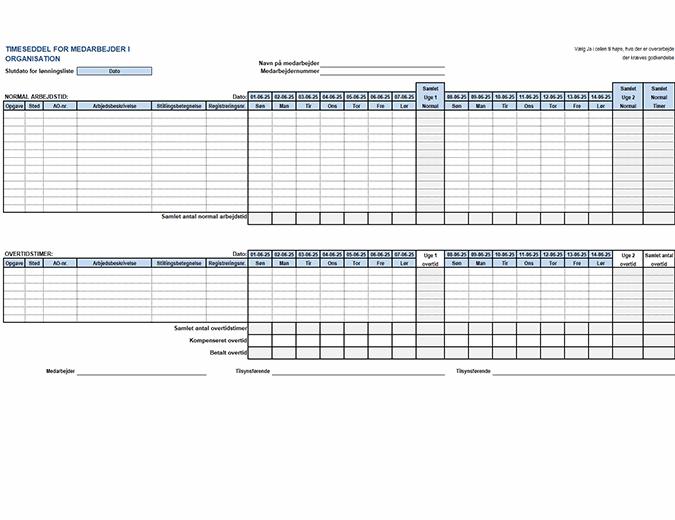 Timeseddel for medarbejder i organisation