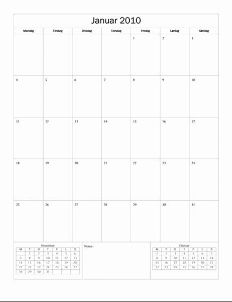 Kalender for 2010 (grunddesign, man-søn)