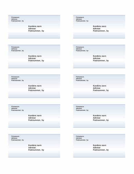 Forsendelsesmærkater (motiv med blå graduering, ti pr. side)