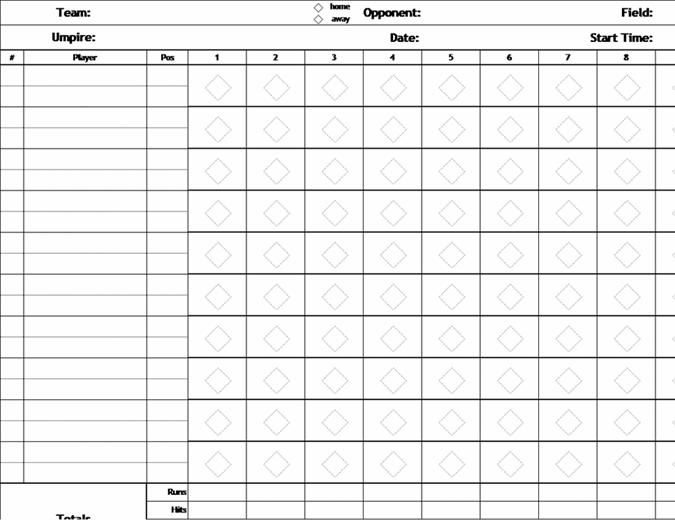 Scorekort til baseball uden pitch-tæller