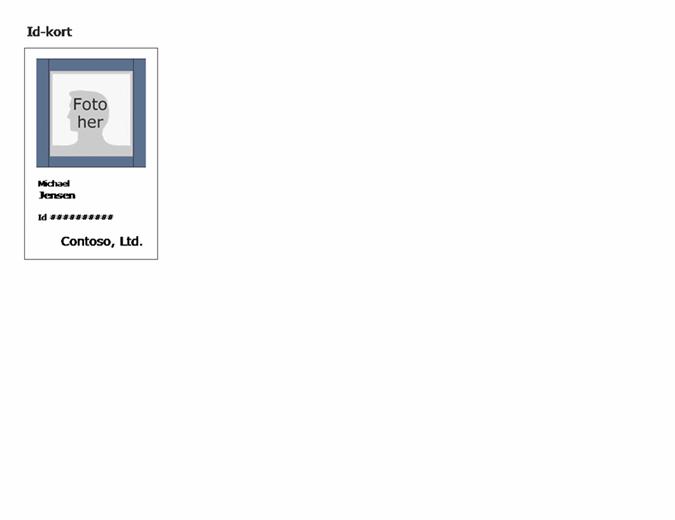 Id-kort til medarbejder (stående)