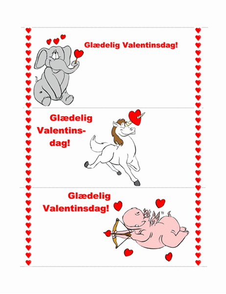 Kort til Valentinsdag (3 sider)