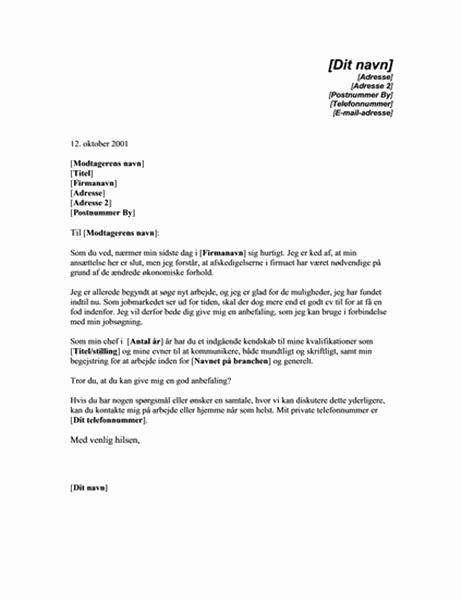 Anmodning om anbefaling fra en tidligere chef