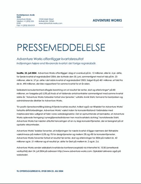 Pressemeddelelse om kvartalsvis omsætning