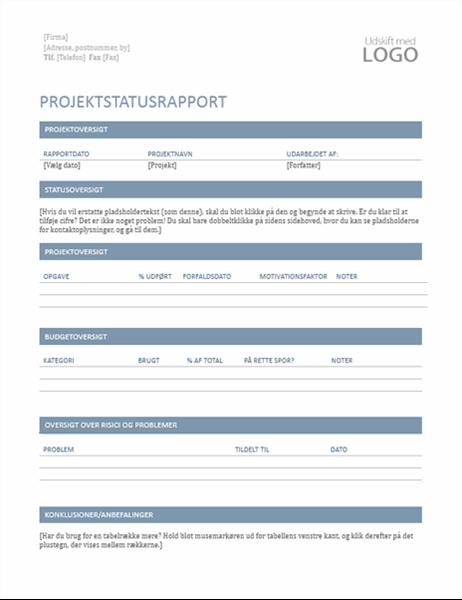 Statusrapport for projekt