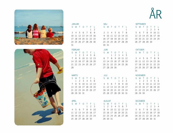 Familiens fotokalender (et hvilket som helst år, 1 side)