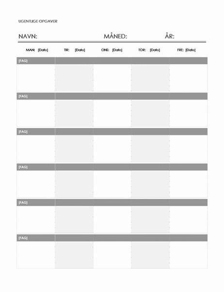 Ugentlig opgavekalender