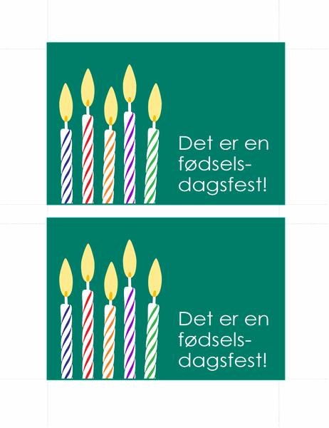 Postkort til fødselsdagsinvitation (2 pr. side)
