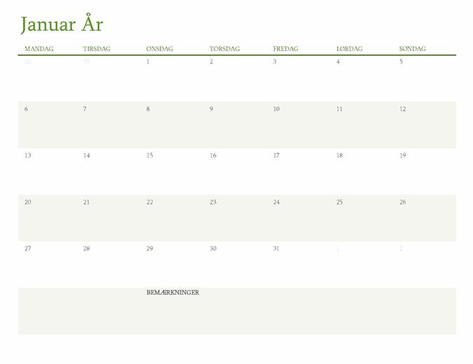 Evighedskalender (1 måned pr. fane)