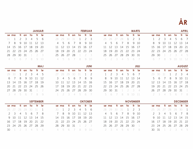 Global helårskalender